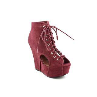 Qupid Women's Burgundy 'Finder' Faux Suede Boots
