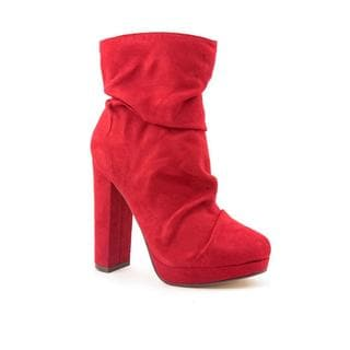 Michael Antonio Women's 'Malone' Red Faux-Suede Boots