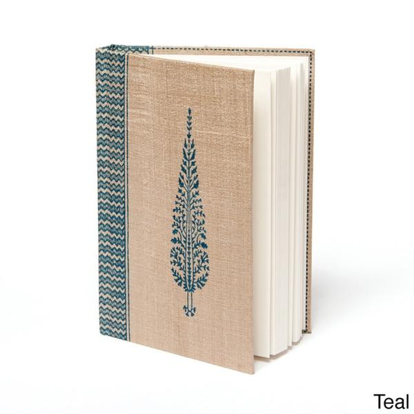 Tassar Mughal Leaf Motif Silk Block Print Journal (India)