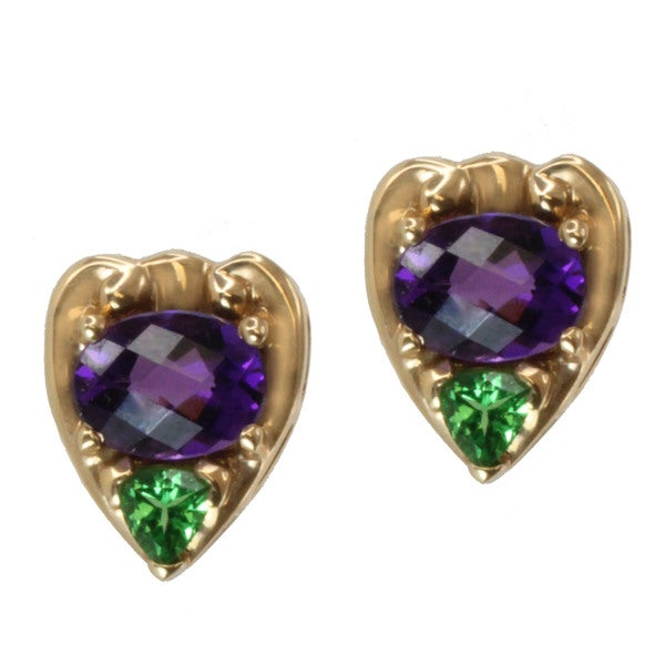 Michael Valitutti 14k Yellow Gold Amethyst and Tsavorite Earrings