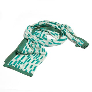 Teal Block Batik Silk Stole (India)