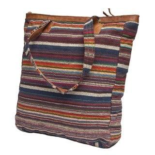 Multi-colored Stripe Lukla Yak Leather Tote (Nepal)