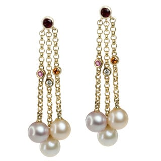 Michael Valitutti 14k Yellow Gold Pearl, Rubelite, Pink Sapphire, Citrine and Diamond Earrings (6.5-7 mm)