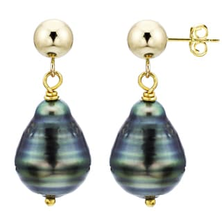 DaVonna 14k Yellow Gold Black Tahitian Pearl Dangle Earrings (8-10 mm)