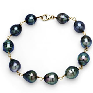 DaVonna 14k Yellow Gold Black Tahitian Pearl Link Bracelet (8-10 mm)