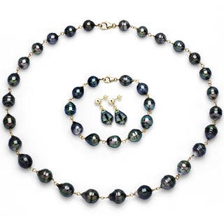 DaVonna 14k Yellow Gold Black Tahitian Pearl Jewelry Set (8-10 mm)