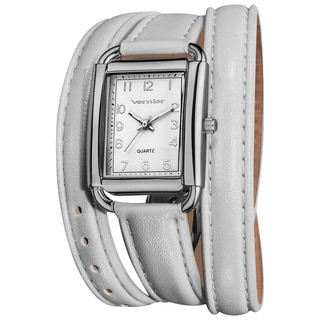 Vernier Women's Quartz Silvertone White Genuine Leather Triple Wrap Strap Watch