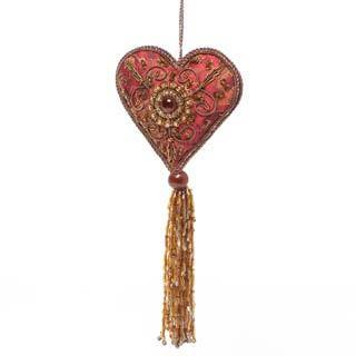 Handcrafted Beaded Bold Red Heart Ornament and Long Beaded Tassel (India)