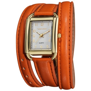 Vernier Women's Quartz Gold-Tone Orange Genuine Leather Triple Wrap Strap Watch
