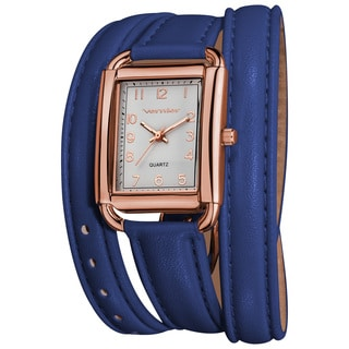 Vernier Women's Quartz Rose Gold-Tone Blue Genuine Leather Triple Wrap Strap Watch