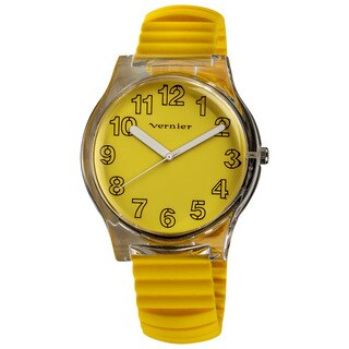 Vernier Women's Yellow Stretch Silicone Watch/ Pouch Set