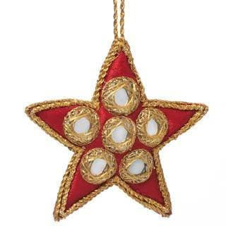 Handcrafted Beaded Mirror Star Ornament (India)