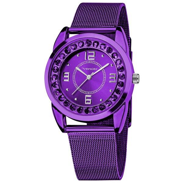 Vernier Women's Slim Purple Crystal Stone Dial Mesh Strap Watch