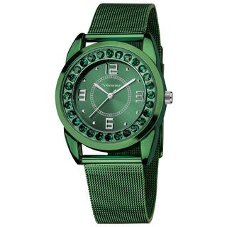 Vernier Women's Slim Green Crystal Stone Dial Mesh Strap Watch