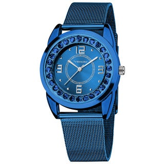 Vernier Women's Slim Blue Crystal Stone Dial Mesh Strap Watch