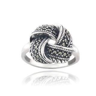 Glitzy Rocks Sterling Silver Marcasite Love Knot Ring