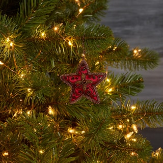 Handcrafted Big Bold Red Beaded Star Ornament (India)