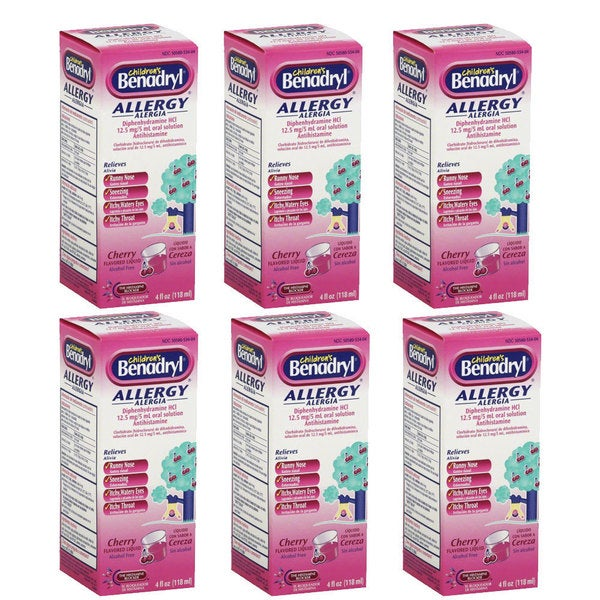 Children's Benadryl Allergy 4-ounce Cherry Flavored (Pack of 6)