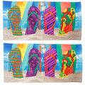 Flip Flop Surfboard Beach Towel 2 Pack