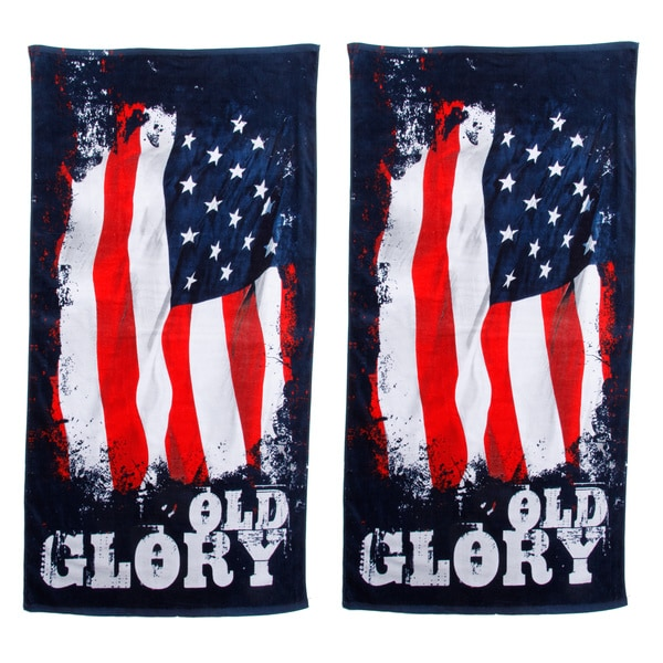 Old Glory Beach Towel Set of 2