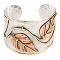Handmade Leaves on a Vine Stainless Steel Cuff Bracelet (India)