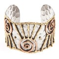 Handmade Copper and Brass Abstract Stainless Steel Cuff Bracelet (India)