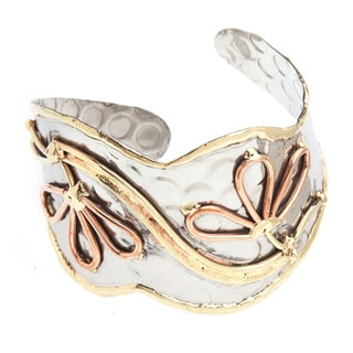 Handmade Copper and Brass Flowers Stainless Steel Cuff Bracelet (India)
