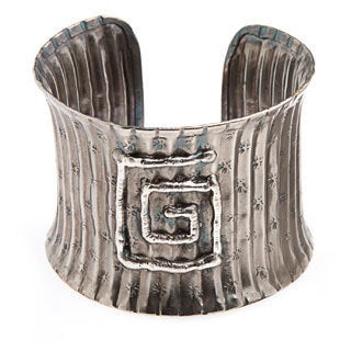 Handmade Ridges and Square Detail Silver Cuff Bracelet (India)