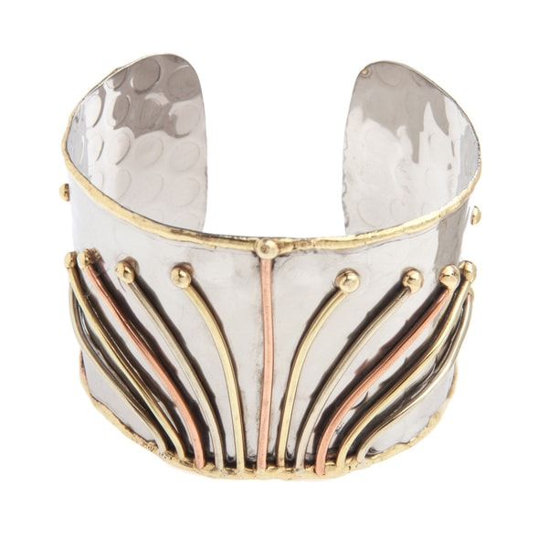 Handmade Copper and Brass Lines Stainless Steel Cuff Bracelet (India)