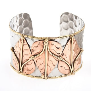 Handmade Brass Leaves Stainless Steel Cuff Bracelet (India)