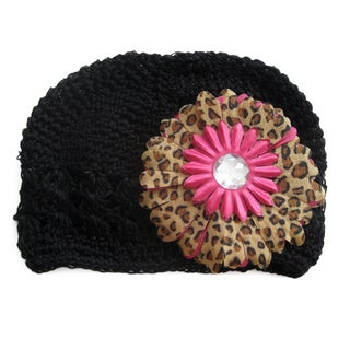 Crocheted Black Zara Kufi Hat and Leopard Daisy