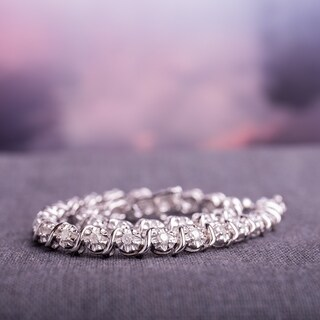 Miadora Sterling Silver 1ct TDW Diamond Tennis Bracelet (K-L, I2-I3)