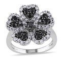Miadora Sterling Silver Black Spinel and Created White Sapphire Flower Ring