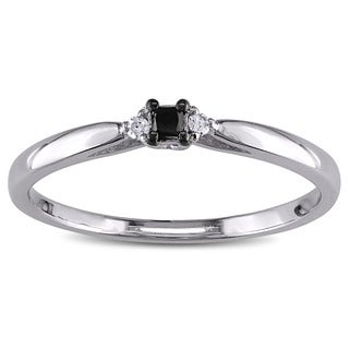 M by Miadora Sterling Silver Black and White Diamond Promise Ring