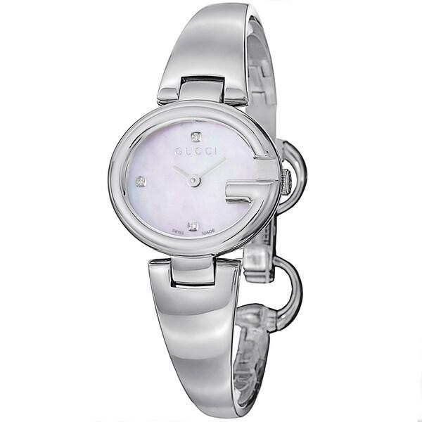 Gucci Women's YA134504 'Guccisima' Mother Diamond Dial Stainless Steel Bangle Watch