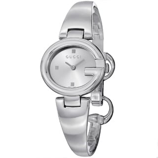 Gucci Women's YA134502 'Guccisima' Silver Dial Stainless Steel Bangle Quartz Watch