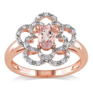 Miadora 10k Rose Gold Morganite and 1/6ct TDW Diamond Flower Ring (G-H, I1-I2)