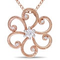 Miadora Roseplated Silver 1/6ct TDW Diamond Flower Necklace (H-I, I2-I3)