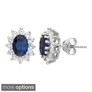 Gioelli Sterling Silver Gemstone and White Topaz Stud Earrings