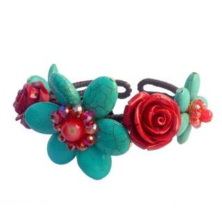 Turquoise Stone Flower Bendable Bracelet
