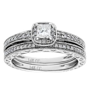14K White Gold 1/2ct TDW Princess-cut Diamond 2-piece Bridal Set (G-H, I1)
