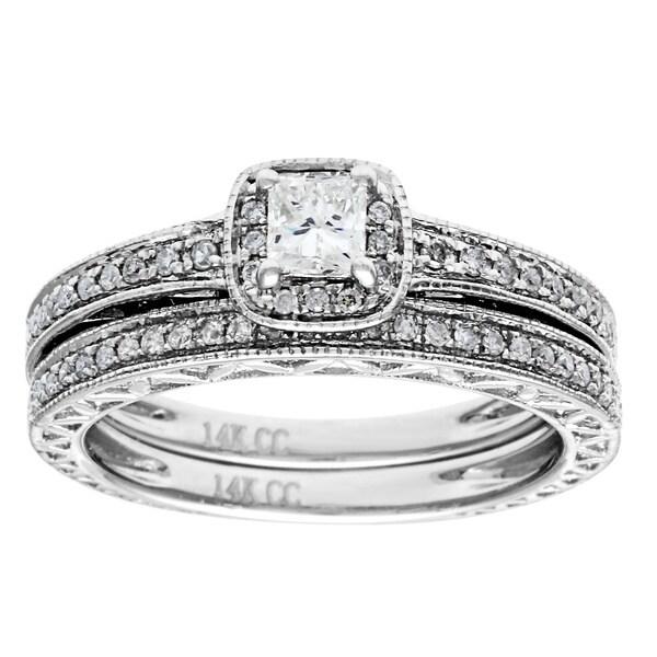 14K White Gold 1/2ct TDW Princess-cut Diamond 2-piece Bridal Set (G-H, I1)