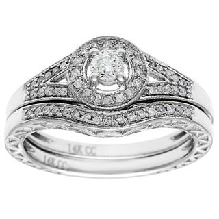 14k White Gold 1/2ct TDW Round Diamond Bridal Set (H-I, I1-I2)