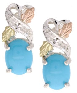 Black Hills Gold and Silver Diamond Turquoise Earrings