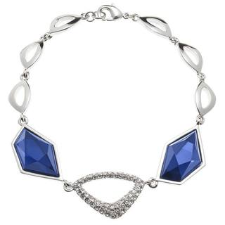 Silvertone Montana Blue Glass and Crystal Bracelet