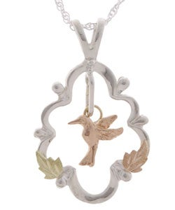 Black Hills Gold and Silver Hummingbird Pendant
