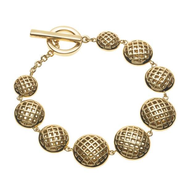 Gold Overlay Graduated Basketweave Disc Bracelet