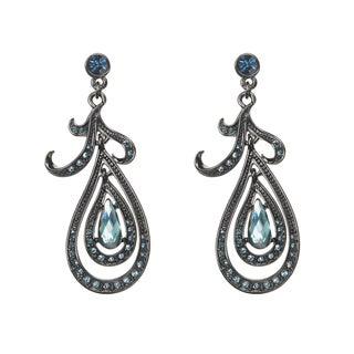 Gunmetal Blue Crystal and Glass Teardrop Dangle Earrings