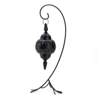 Black Cutout Lantern and Stand