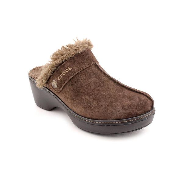 Crocs Women's 'Cobbler Leather Clog' Brown Suede Casual Shoes